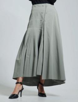 LADYMADE ツインボタンサイドプリーツスカート