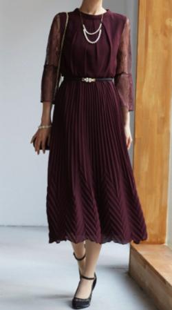 Dorry Doll レース袖 変形プリーツ組み合わせロングドレス