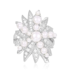 APM Monaco Silver 'Divines' Glamour Ring With Pearl