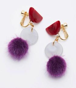 ROOM fur contrast earring