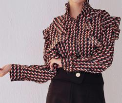 Lady Rora フリル 幾何学模様 シャツ