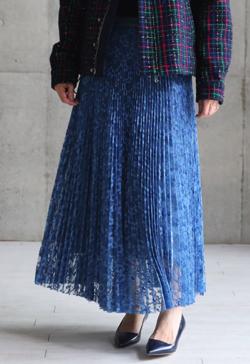 CHONO 『Botanical lace』 Long skirt LIGHT BLUE