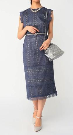 Dorry Doll 幾何学模様柄ケミカルレース使い ナローラインワンピースドレス