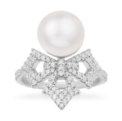 APM Monaco Cross Ring With Pearl - Silver