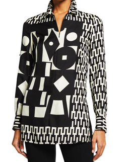 AKRIS Mosaic Print Wool/Silk Tunic Top