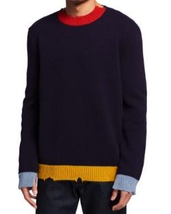 MARNI Men's Distressed Colorblock Crew Sweater