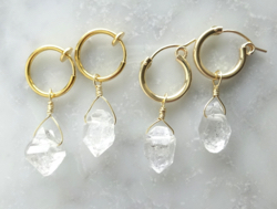 marina JEWELRY Herkimerdiamond hoop pierced earring