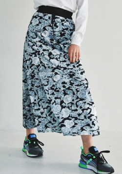 JUEMI Mosaic Velours Long Skirt
