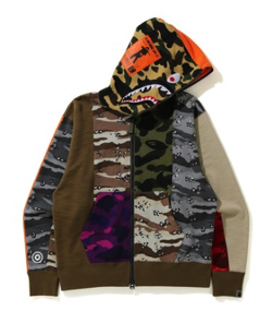 A BATHING APE CRAZY CAMO MAD SHARK RELAXED FIT FULL ZIP HOODIE M
