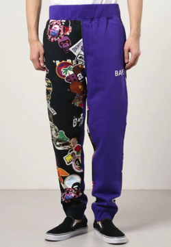 A BATHING APE MULTI MOTIF PRINT SLIM SWEAT PANTS M