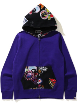 A BATHING APE MULTI MOTIF PRINT FULL ZIP HOODIE