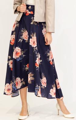 And Couture インポートフラワー柄ロングスカート