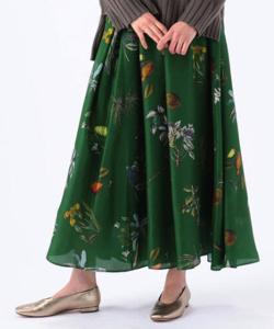 CABaN シルクボタニカルプリント ミディギャザースカート