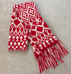 Old Navy red/white fair isle knit scarf