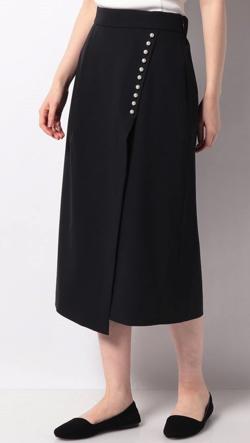 TONAL パール釦アシメタイトスカート