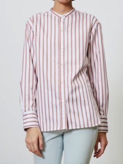 Comptoir des Cotonniers コットンポプリンストライプバンドカラーシャツ