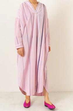 NE QUITTEZ PAS Poplin Stripe Stand Collar Dress