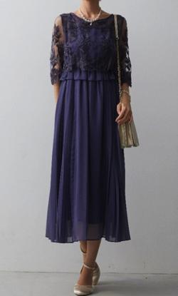 Dorry Doll 袖付き刺繍レースふらしサイドプリーツスカートワンピースドレス
