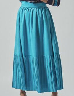 Viaggio Blu リネンライク裾切替プリーツスカート