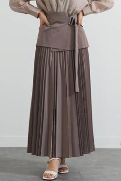 LADYMADE ペプラムベルトエコレザープリーツスカート