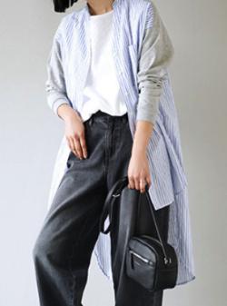 apartment department スキッパーネック ストライプ ドッキングシャツ