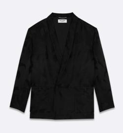 SAINT LAURENT パームサテンジャカードのローブジャケット