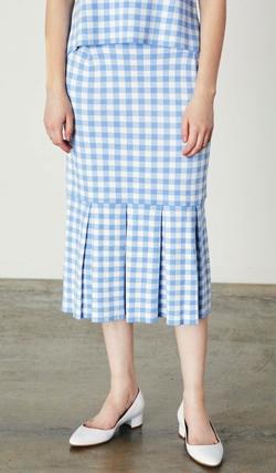 MARILYN MOON ギンガムチェックマーメイドニットスカート