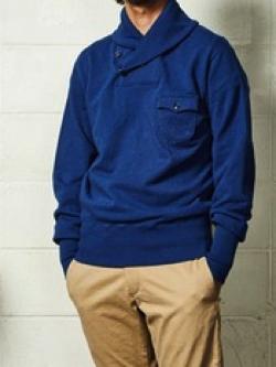 TMT SHAWL-COLLAR INDIGO SWEAT SHIRTS