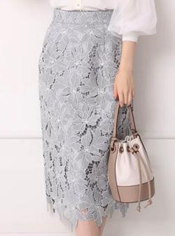 Apuweiser-riche 配色大花レースタイトスカート