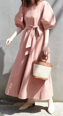 natural couture ランタンスリーブワンピース