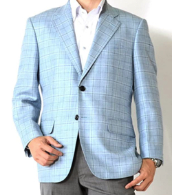 Dan Hill Fabric Jacket/Blue Check A Body 2 Button Tailored Jacket