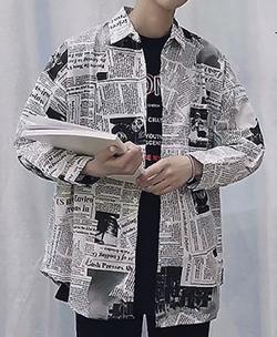 ニュースペーパー柄 長袖シャツ