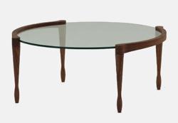 リコカツ インテリア グラスx木製のローテーブル
