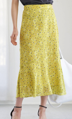 La boutique BonBon カットジャガード小花プリントマーメイドスカート