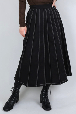 PUNYUS ステッチプリーツロングスカート