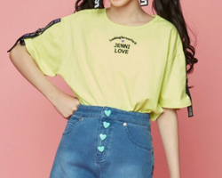 JENNI love 袖ロゴテープコードゴムTシャツ