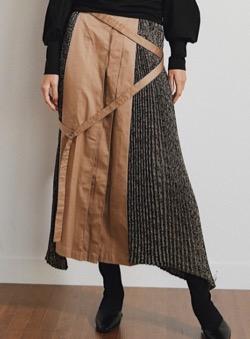LADYMADE サイドプリーツデザインベルトスカート