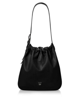 TOM FORD CALF LEATHER DOUBLE BUCKLE HOBO BAG