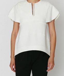 YOKO CHAN Flared-sleeve Pearl Slit-line Blouse