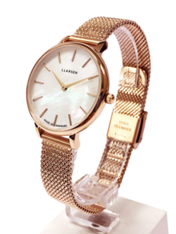 "LLARSEN ""TREASURE"" Rose gold with treasure bracelet / White shell dial"