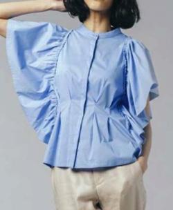 DOUBLE STANDARD CLOTHING C/N/Pu ブロード ブラウス