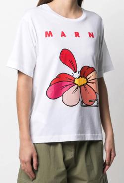 MARNI フローラル ロゴ Tシャツ
