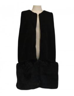 BayBee combination fur vest(black)