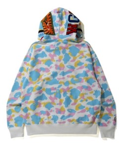 A BATHING APE NEW MULTI CAMO SHARK RELAXED FIT FULL ZIP HOODIE M
