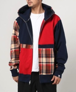 A BATHING APE(ア ベイシング エイプ)BAPE CHECK SHARK RELAXED FIT FULL ZIP HOODIE M