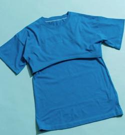 ヒルナンデス!藤田ニコル ブルーのレイヤードTシャツ