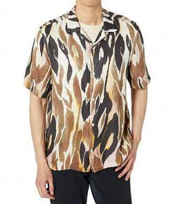 リコカツ・白洲迅 ベージュxブラウンのアニマルプリントシャツ