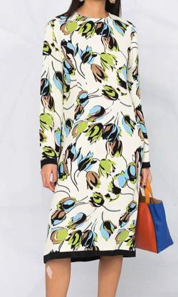 ボクの殺意が恋をした新木優子アイボリーのチューリッププリントドレス