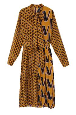 Missweets 総柄ファッションリボンカラーカジュアルワンピース