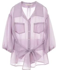 阿部華也子めざましテレビ・きょう何着て行くパープルのシアーシャツジャケット